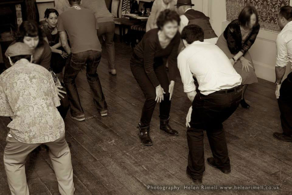 Swing dance class at a function with The Silver Ghosts